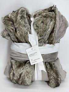Pottery Barn Gray/Caramel Ombre Tipped Faux Fur Robe, Medium, Free Shipping