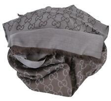 New Gucci 165903 Large Lightweight Brown Grey Wool Silk GG Guccissima Scarf