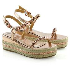 Womens Low Wedge Heel Espadrilles Ladies Summer Stud Platform Sandals Size 3-8