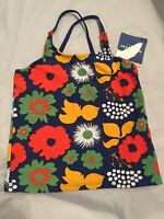 New Girl's Marimekko Blue Floral Kukkatori Tankini Swim Top Size M 7-8