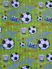 2 SHEETS OF THICK GLOSSY BOYS / CHILDREN'S FOOTBALL BIRTHDAY WRAPPING PAPER