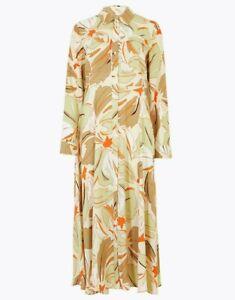 Autograph M&S Shirt Dress UK 8 Green Cream Brown Floral Midi dress 100% viscose