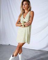 MOTEL ROCKS Enslee Slip Dress in Crinkle Botanic Mint Foam  Small S      (MR89)