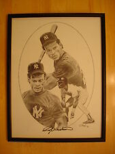 Rickey Henderson Autograph Pencil Lithograph Signed N.Y. Yankees J. Hush 1985