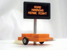 Miniatronics # 8500501 Highway Sign w/3v DC Trans Rd Narrows Merge Right HO MIB