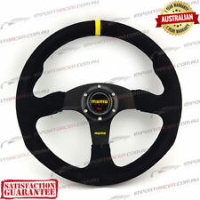 345mm SUEDE SPORTS STEERING WHEEL BLACK YELLOW STRIPE MOMO 1 Year Warranty