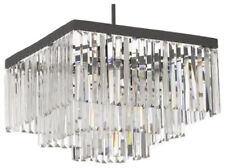 Retro Odeon Crystal Glass Fringe 3-Tier Semi Flush Mount Chandelier