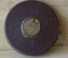 VINTAGE BDS steel TAPE MEASURE 100 foot length leather case Western Germany
