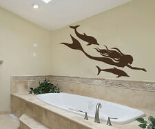 Wall Decals Mermaid Dolphin Decal Vinyl Sticker Bathroom Nursery Decor MS696