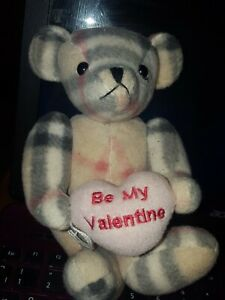 VINTAGE COLLECTABLE TEDDY BEAR BE MY VALENTINE burberry