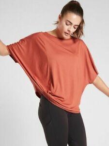 ATHLETA Dolman Tee XS in Etruscan Red   Soft! Top CYA Loose-Fit Yoga Shirt NWT