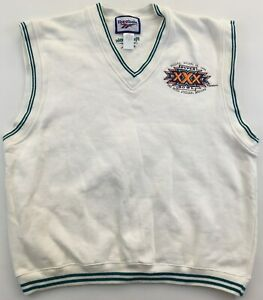 Super Bowl XXX 30 1996 white sweater vest NFL Reebok Large L