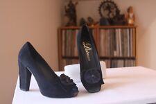 Delman 0186236 Black Suede 4 Inch Heel Medallion Peep Toe Pumps  Size 6.5 Medium