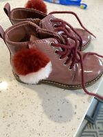 Toddlers Zara Baby Girl Burgundy Patent Leather Boots Size EUR 24 With PomPom.