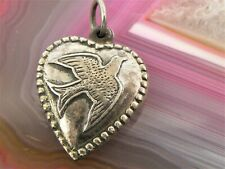 Vintage Sterling Silver Holy Spirit Bird Puffy Heart Charm