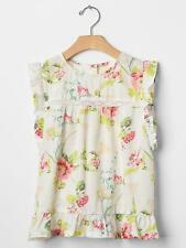 NWT New Gap Kids Girl Floral Lace-Trim Flutter Top M 8 Off White