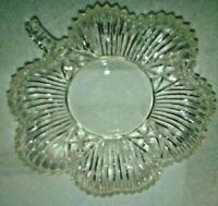 "VINTAGE CLEAR DEPRESSION GLASS CLOVER SHAPED TRINKET CANDY CATCH-ALL 6"" DISH"