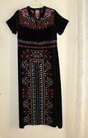 Johnny Was -Sz XS VELVET Masterpiece Boho Black All Embroidered Long Art Dress