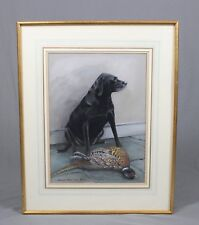 Michelle Bennett Oates Watercolour Painting Labrador with Pheasant