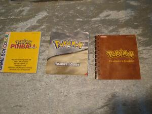 JEU Nintendo DS GAME BOY Color lot x3 notice RARE POKEMON PINBALL TARINER GUIDE