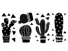 GEO CACTUS wall stickers 27 decals kitchen decor black cacti southwest plants