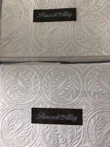 TWO Peacock Alley VIENNA SILK Cotton Euro Shams White 26x26 Pristine Made in USA