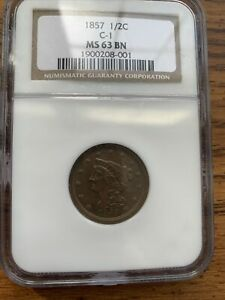 1857 Braided Hair Half Cent C-1 MS 63 BN