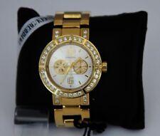 NEW Dyrberg Kern Adrianna Large Dial Gold Crystal Bracelet Watch in Box