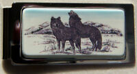 Money Clip Barlow Photo Reproduction in Color Wolf Wolves Hinged Silver 526519c