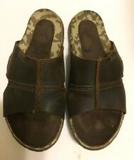 Mens CUSHE ARGOS Oiled Dk Brown Leather SLIDES SANDAL SIZE 7