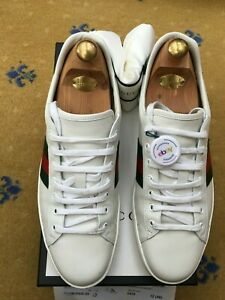 Gucci Mens Trainers Sneaker Shoes White Leather Ace UK 12 US 13 46 Web Green Red
