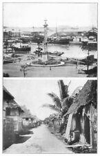 PHILIPPINES. Magellan monument Pasag river, Manilla; Nipa huts 1907 old print