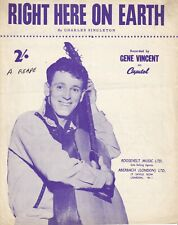 Right Here On Earth - Gene Vincent (Not A Repro) - 1957 Sheet Music