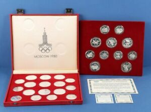 Russia: 1977-80 Olympic 14 x 10 Rouble 33g  & 14 x 5 Rouble 16g Silver Full Set.