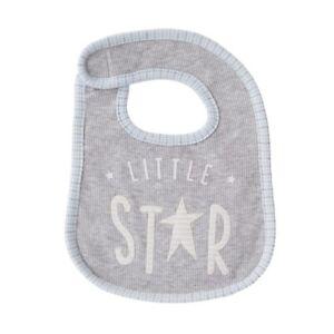 Mud Pie H7 Baby Boy Gray Little Star Waffle Feeding Bib 1552322