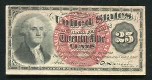 FR. 1302 25 TWENTY FIVE CENTS FOURTH ISSUE FRACTIONAL CURRENCY NOTE ABOUT UNC