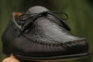 NEW MEZLAN ''BONDS'' Genuine  Alligator Tassel Loafers Shoes 11.5 M