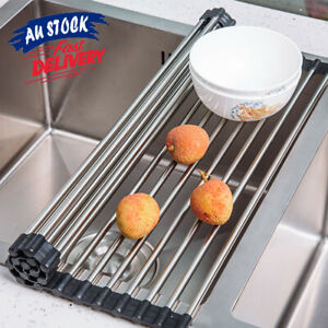 Stainless Steel Roll Up Drainer Over Sink Rack Kitchen Drying Folding Dish Tray