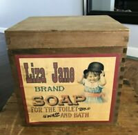 """Vtg Antique Repro Wooden Crate Lidded Soap Box Advertising Storage Cube Bin 9"""""""