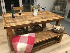 RUSTIC FARMHOUSE STYLE KITCHEN DINING TABLE & BENCHES - ALL SIZES MADE