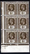 MAURITIUS KG V 1927 6c. Sepia BLOCK OF SIX Wmk Mult Script CA SG 228 MNH