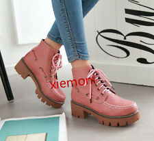 Womens Platform Shoes Lace Up Ankle Boot Med Block Heel Square Toe Strappy Boots