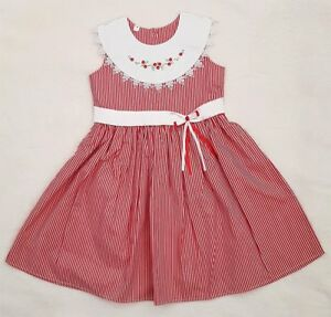 GIRLS DRESS CHRISTMAS PARTY DRESS GIRLS BABY TODDLER EMBROIDERED SMOCKED DRESS