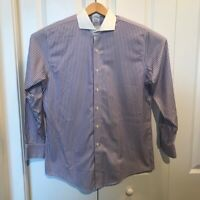 Brooks Brothers New Regent Mens Dress Shirt Purple Stripe 16-34 Button Up New
