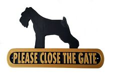 Schnauzer Please Close The Gate Dog Plaque  House Garden Sign - Black/Gold