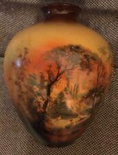 "Antique Royal Bayreuth Hand Painted Bathing Maidens Castle Porcelain 7"" Vase Jar"