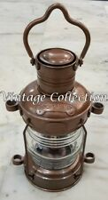 Nautical Antique Brass Anchor Oil Lamp~Vintage Maritime Ship Lantern Boat Light