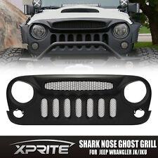 Xprite Black Custom Shark Nose Ghost Vented Grill Mesh For 07-17 Jeep Wrangler