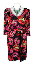 LEONA EDMISTON Dress - Vintage Retro Floral Twist Pink Black Green V-Neck - L/16