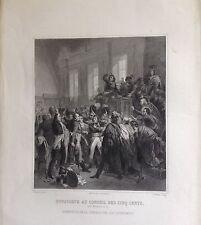 FRANCE,  NAPOLEON, BONAPARTE AU CONSEIL DES CINQ CENTS,  grabado original,1837